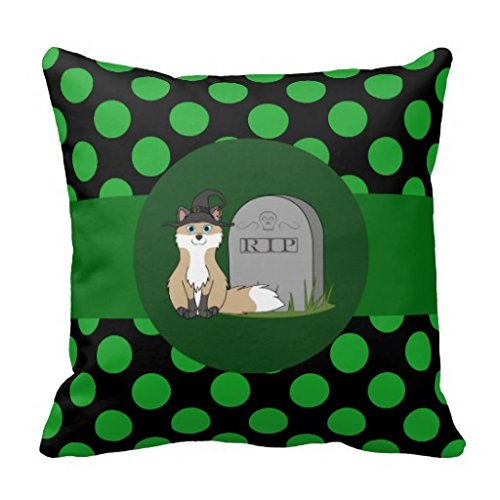 Zhoujie® Halloween Swift Fox With Rip Grave Stone Dots Throw Pillow Case (Halloween Gravestone Sayings)