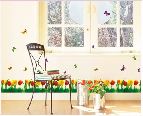 Kappier Beautiful Yellow and Red Tulips with Butterflies Wall Border Peel & Stick Removable Wall Decals