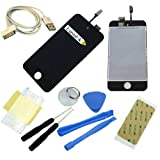 For Ipod 4th Gen Glass Screen Lcd Assembly Replacement Kit Black