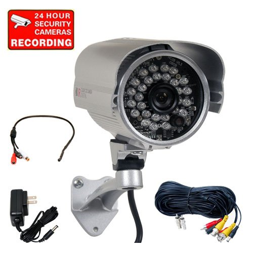 """Videosecu Ir High Resolution Outdoor Security Camera Built-In 1/3"""" Sony Effio Ccd 700Tvl Day Night Vision 28 Infrared Leds Wide Angle For Cctv Dvr Home Surveillance System With Microphone, Power Supply And Extension Video Audio Power Cable 1V1"""