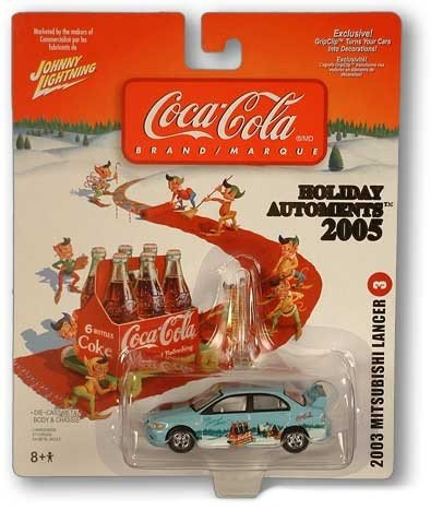 Buy Collectable Johnny Lightning Coke Coca-Cola Holiday Automents (automobile – ornament) 2005 – 2003 Mitsubushi Lancer #3