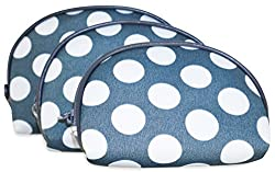 Ever Moda Grey Polka Dots 3 Piece Cosmetic Bag Set