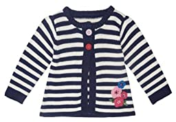 JoJo Maman Bebe Baby Girls\' Stripe Cardigan - Navy/Cream Stripe - 18-24 Months