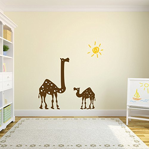 Desert Wall Decals Camels and Sun Vinyl Stickers, Egypt Themed Decor for Baby Nurseries, Children's Playrooms, Preschools, School Classrooms