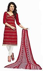 Fabgruh Presents Chanderi Dress Material(Red)