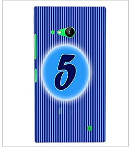 PrintDhaba Numerology Number 5 D-2560 Back Case Cover for NOKIA LUMIA 730 (Multi-Coloured)