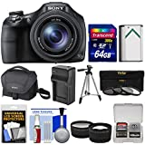 Sony Cyber-Shot DSC-HX400V Wi-Fi Digital Camera with 64GB Card + Case + Battery & Charger + Tripod + Tele/Wide Lenses + Filters Kit