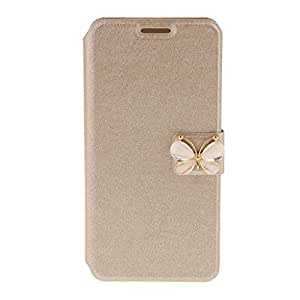 Magideal Gold Butterfly Flip Leather Case Cover For Samsung Galaxy S6