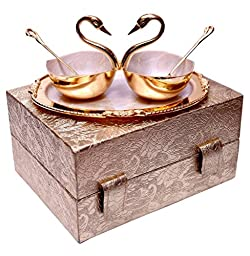 Jaipur Ace Beautiful Family Gifts Swan Shaped Metal Bowl With Owl Shaped Tray And Spoon For Get New Look To Your Home And Dining 24.765 Cm Gold