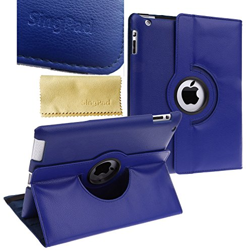 Singpad 360 Degree Rotating Stand Smart Cover Pu Leather Case Apple New Ipad 4 & 3 (3Rd And 4Th Generation With Retina Display) / Ipad 2- Wake/Sleep Function (Royal Blue)