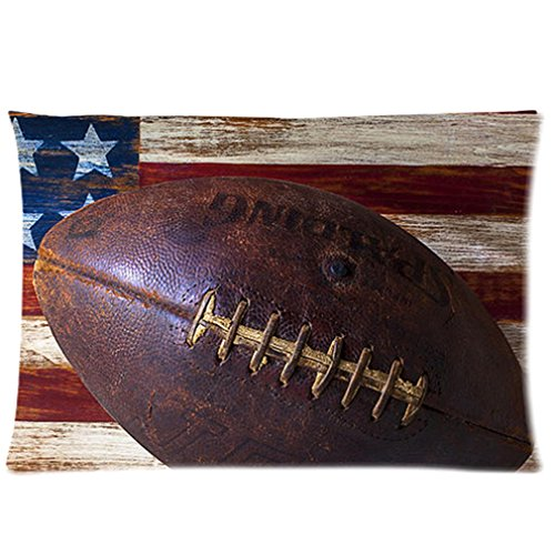 Funny American Flag American Football Wood Texture Distressed Retro Vintage Custom Zippered Pillow Cases 20X30 (Twin Sides) front-992123