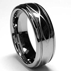 7MM Tungsten Ring with Laser Etched Infinity Design Sizes 6 to 12