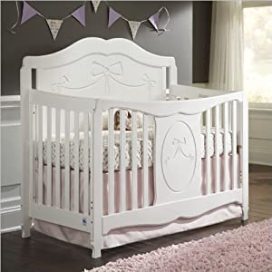 Stork Craft Princess 4 in 1 Fixed Side Convertible Crib, White from Stork Craft