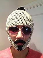 L&W Knit Crochet Beard Beanie Hat Xmas Winter Funny Gift Moustache *HAND MADE*