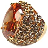 Golden Time Champagne Gold Swarovski Crystal Sparkling Cocktail Ring Size 8 Review