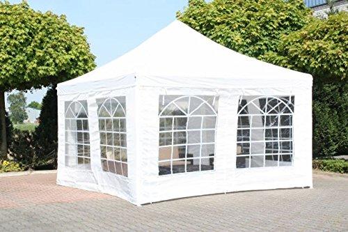 GD-World Pavillon Partyzelt 4x4 Meter weiß Festzelt Stahlgestänge