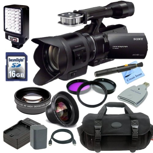 Sony Nex-Vg30 Interchangeable Lens Hd Handycam Camcorder With 18-200Mm Lens + Essential Kit: Includes - High Definition Wide Angle Lens, Hd Telephoto Lens, 3 Piece Filter Kit, Replacement Battery, Travel Charger, Pro Carrying Case, Hdmi Cable, 16Gb High S