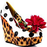 Iron Fist New LOLITA LOVE WEDGE White Leopard Flower Pumps Platform Shoes Rock