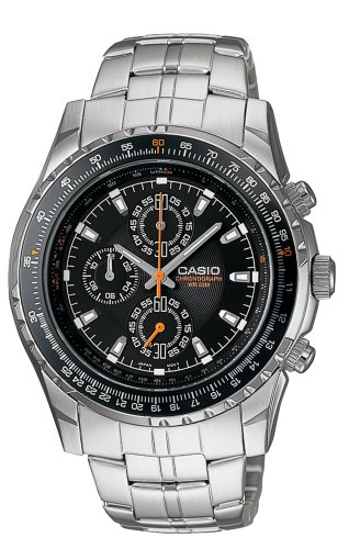 Casio Mens+Slide Rule Bezel+Analog Chronograph+Aviator Watch #MTP4500D-1AV