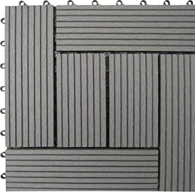 Naturesort N4-OTM6G 6-Slat Bamboo Composite Deck Tiles, Grey
