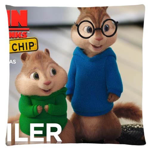 Cotton Polyester Vibrant Bench Pillow Cover Cases Alvin and the Chipmunks The Road Chip Zippered MACHINE WASHABLE 16x16 inch 40x40 cm