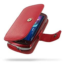 Sony Ericsson Xperia Pro Leather Case - Book Type (Red Floater Pattern) by PDair