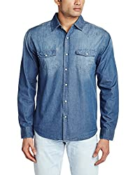 Fox Men's Casual Shirt (439032110438_439032_Small_Denim)