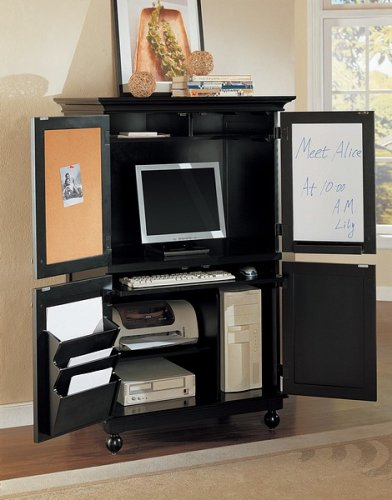 Buy Low Price Comfortable Black wood finish country style computer armoire cabinet desk (B000XBNVNE)
