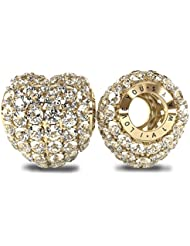 The Royal Collection - I Love You Always Sterling Silver 925 18k Gold Plated Austrian Crystals Pave Bead Charm...