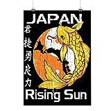 Rising Sun Japan Koi Carp Fish Matte/Glossy Poster A2 (60cm x 42cm) | Wellcoda