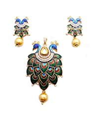 Beautiful Peacock Design Meenakari AD Stone & White Kundan Earring With Pendant Set Jewellery AD Jewellery