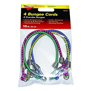 Keeper 06051 10 inch Bungee Cord - Pack of 4 - Maximum tensioning with minimum force