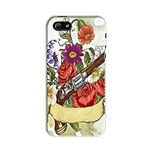 ArtzFolio Gun And Flowers : Apple iPhone 5 / 5S Matte Polycarbonate Original Branded Mobile Cell Phone Designer Hard Shockproof Protective Back Case Cover Protector