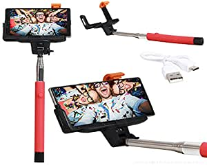 Selfie Stick Extendable Monopod With Inbuilt Bluetooth Remote Wireless Shutter Connectivity Compatible For Reliance Jio LYF Water 3 -Red