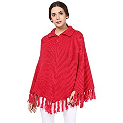 Cayman Pink Solid Woollen Poncho
