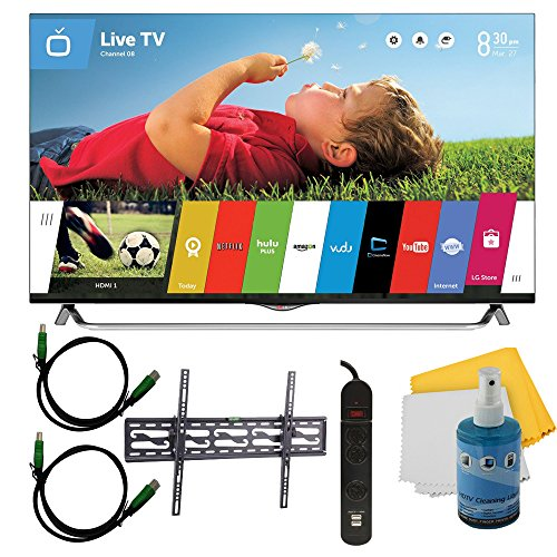 """55"""" 4K Ultra Hd 120Hz 3D Smart Led Tv Plus Tilt Mount & Hookup Bundle (55Ub8500). Bundle Includes Tv, Tilting Tv Mount, 3 Outlet Surge Protector W/ 2 Usb Ports, 2 -6 Ft High Speed Hdmi Cables, Performance Tv/Lcd Screen Cleaning Kit, And Cleaning Cloth."""