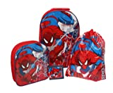 Spiderman Luggage Set - 4pc - Includes Wheeled Bag, backpack, wallet & swimbag