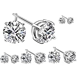 BONAMART ® 7 Pairs Cubic Zirconia Round Stud Earrings Silver Set