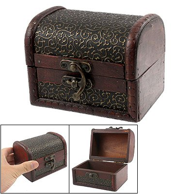 Bronze Tone Embossed Flower Old Stye Wooden Jewelry Box Case
