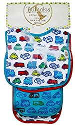 Little Layette 3 Bibs and 2 Burp Cloths Gift Set (Turquoise Trucks)