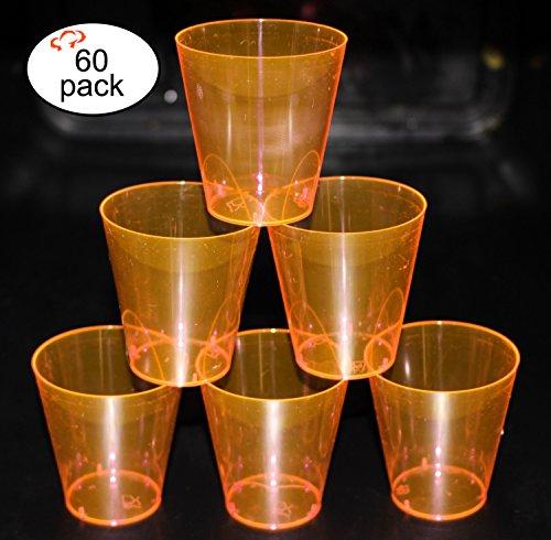 Tiger Chef Hard Plastic 2-Ounce Shot/Shooter Glasses, Wedding Party Bar Shot Glasses, 60-Count Neon Orange