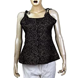 Spaghetti Strap Tank Tops for Girl in Block Print Handloom Woven Cotton Size: 32 to 44