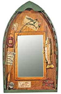 Amazon Com Fishing Row Boat Mirror With 3d Trout And Fishing Decorations 20 Quot Wall Mounted