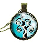 Tree of Life Iridescent Glass Cabochon Bronze Pendant Necklace G