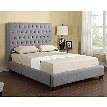 Sophia Contemporary Fabric Upholstered Bed Kit with Platform Bed and Tufted Diamond Stitch Pattern Headboard with Bolt-on Rails