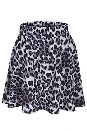 leopard-animal-print-stretch-a-line-flared-circle-skater-mini-skirt-m-gray