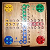 """Ludo or Aggrevation Game Premium Hardwood Model 7.5"""" Square with Cover"""