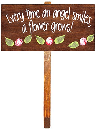 """""""Every Time an Angel Smiles"""" Wooden Garden Stake"""