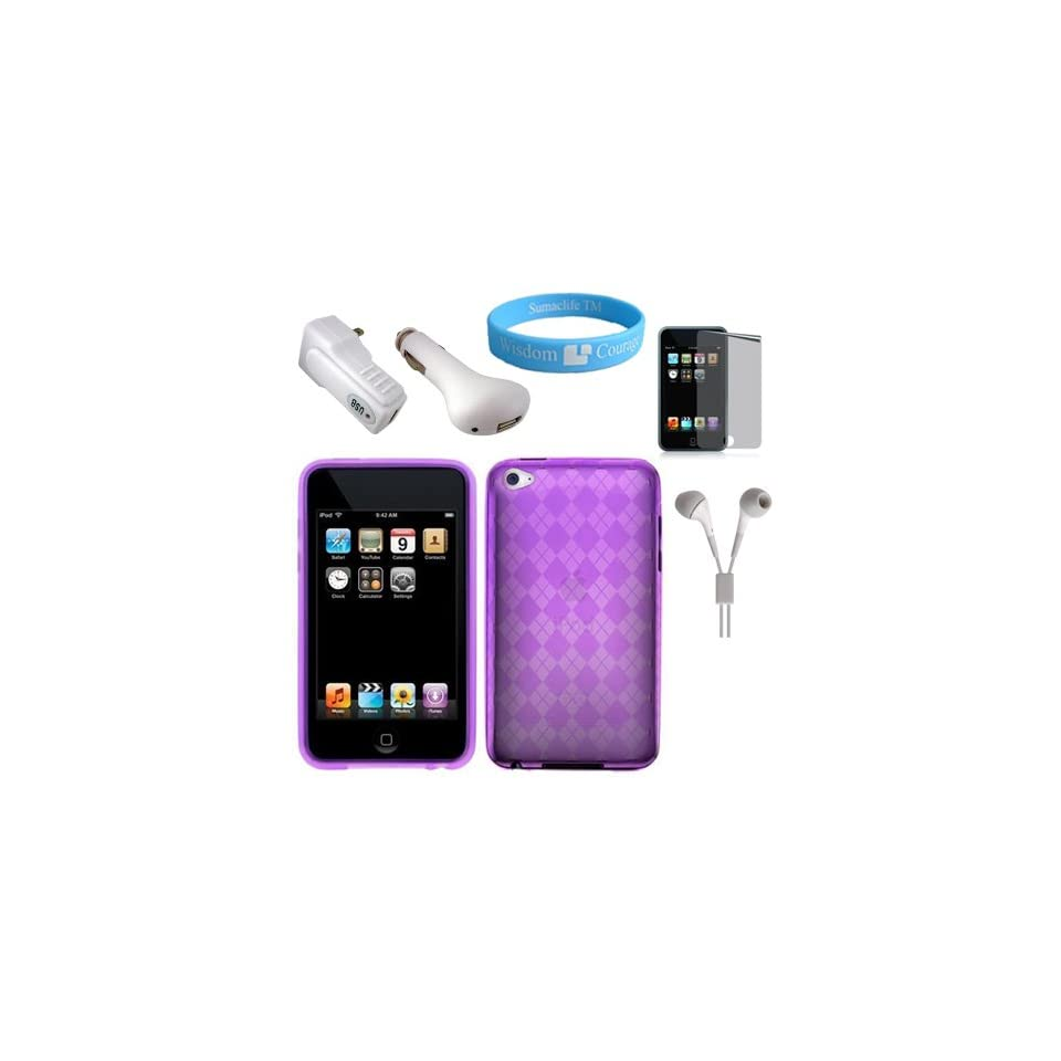 Purple Protective TPU Silicone Skin for Apple iPod Tough 4th Generation + Mirror Screen Protector + USB Car Charger + USB Wall Charger + White Handsfree + Wristband