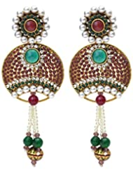 New Choice Round Shape Studded Red Pota And Hanging Of Pearls Dangler Earring For Women